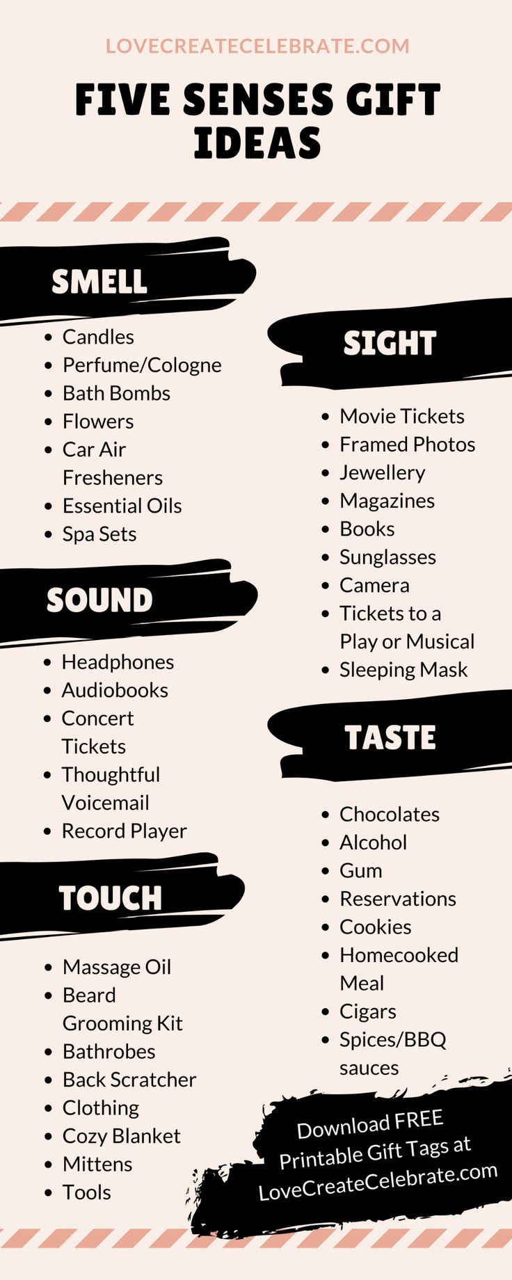 Gift ideas for your five senses gift! Ideas for your sense of smell, taste, touch, sight, and sound or hearing. Perfect for valentines day, a birthday, an anniversary, etc. Great ideas for creative five senses gifts for him or her.