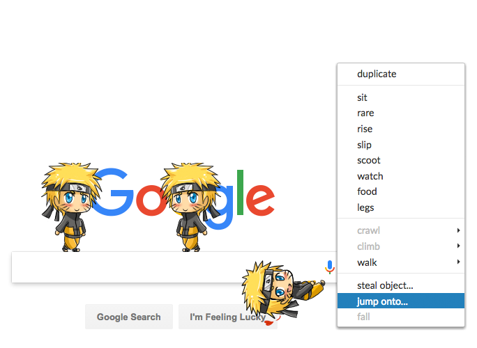 Preview of the Shimeji Browser Extension