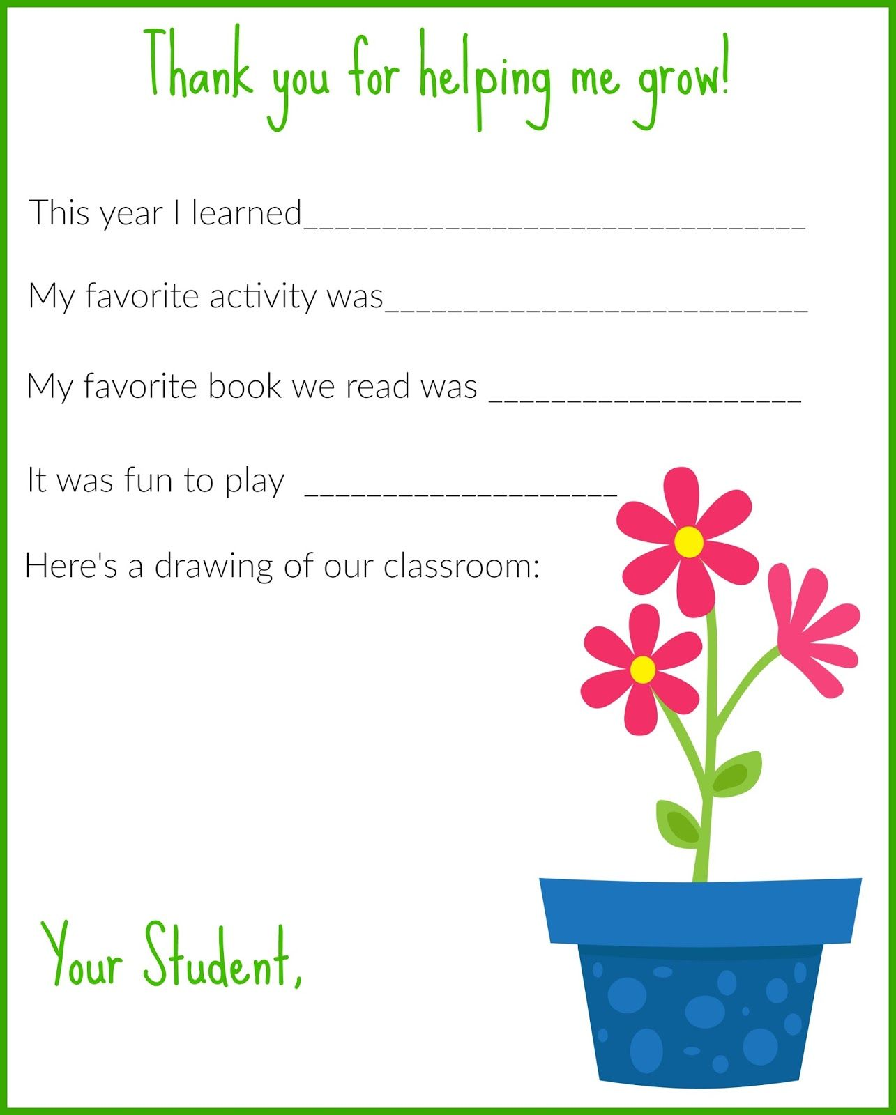 A Thank You Letter for Teachers {Free Printable (With