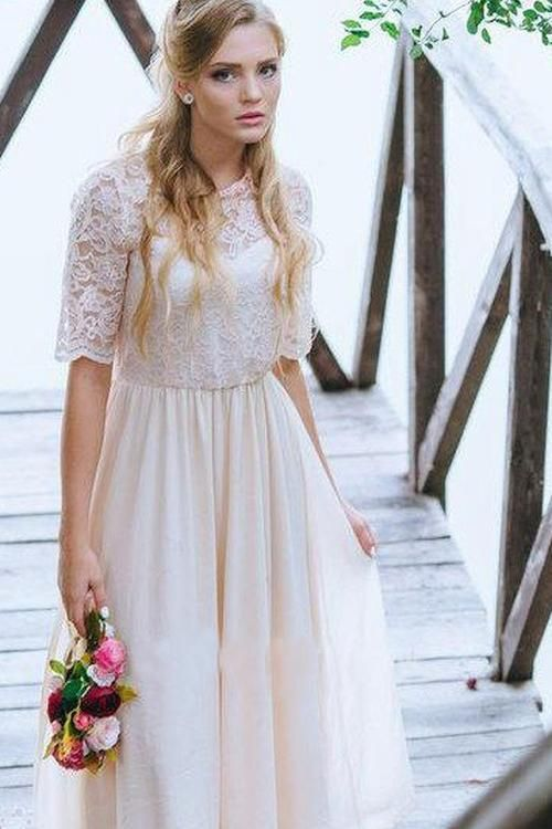 A Line Half Sleeve Lace Chiffon Ankle Length Prom Dress with Jewel Neckline PW274 #lacechiffon