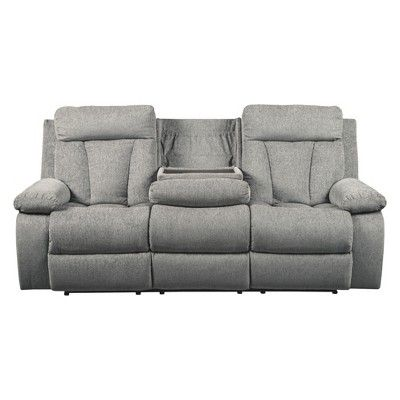 Mitchiner Reclining Sofa With Drop Down Table Light Gray Signature Design By Ashley Reclining Sofa Sofa Recliner