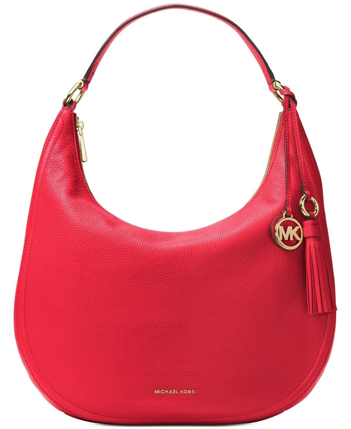 a1477f01866f Michael Kors Large Lydia Leather Hobo Tote & Tassel-BRIGHT RED (FREE  SHIPPING)