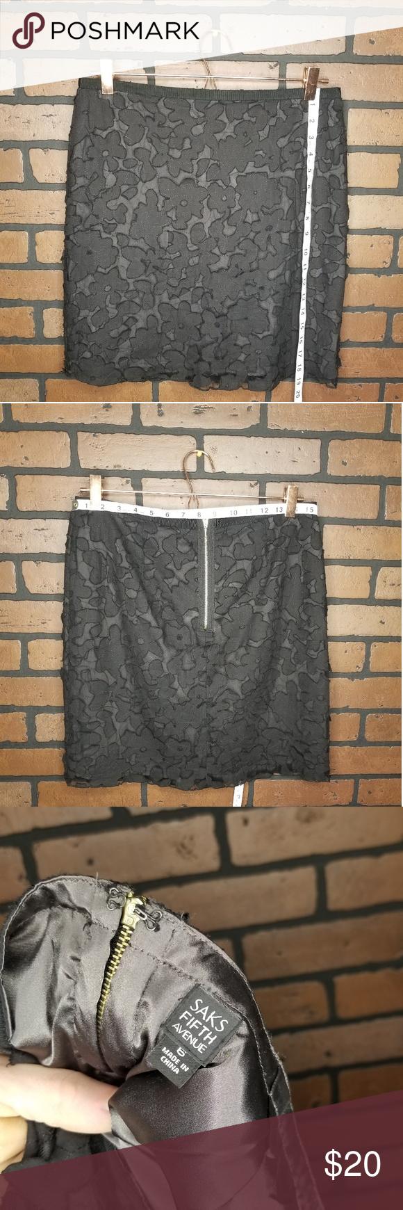 Saks Fifth Avenue Mini Skirt Floral Lace Black Mini Skirts