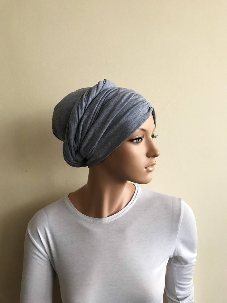 3 In One Gray Melange Hijab Jersey Turban Volume Ready Etsy In 2021 Turban Beautiful Scarfs Hats Vintage