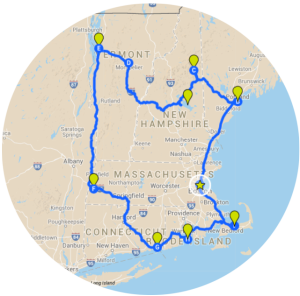 New England Itinerary Map - Grand Tour of all Six States