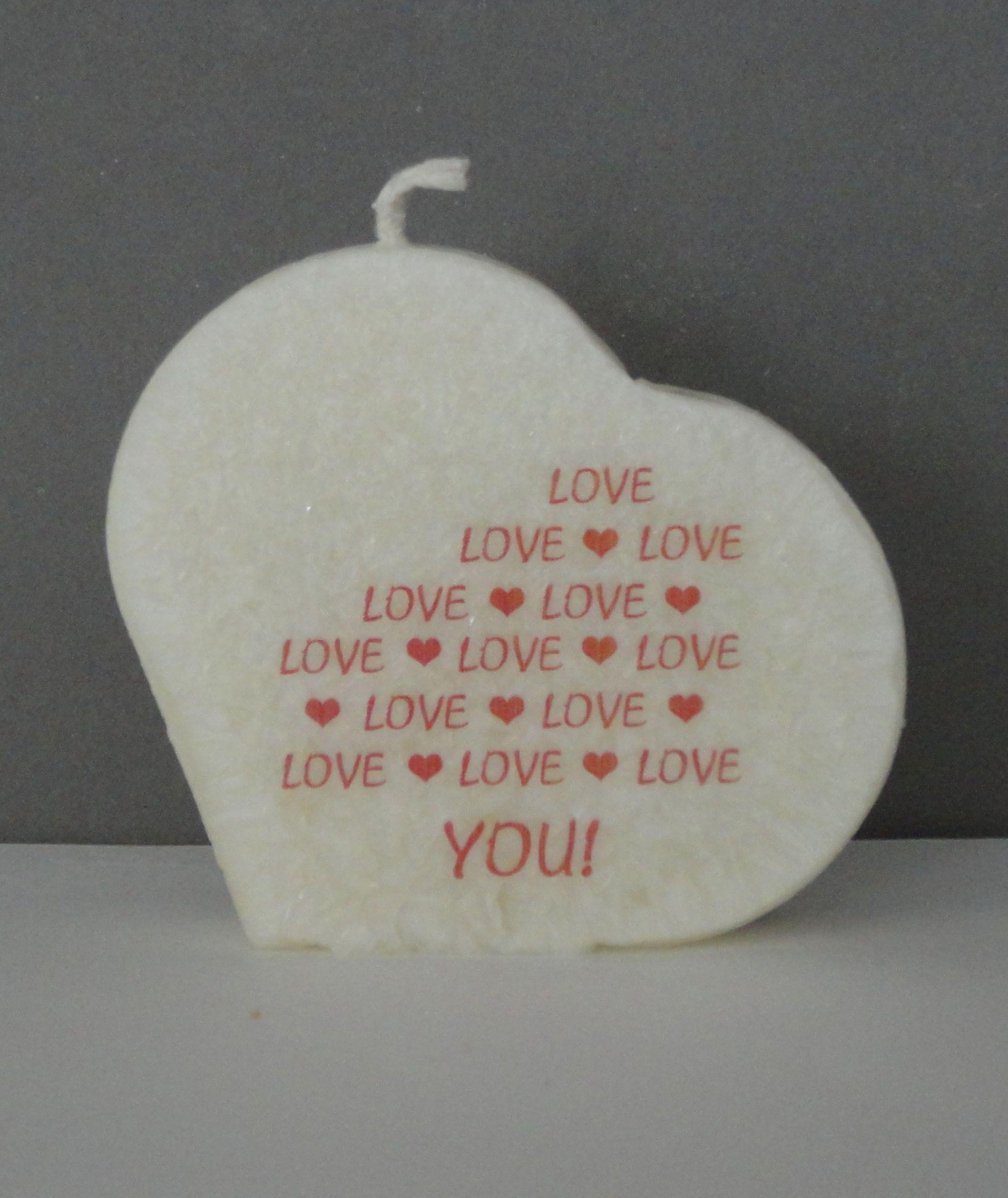 Kristal tekst kaars met opdruk, leuk voor valentijnsdag.