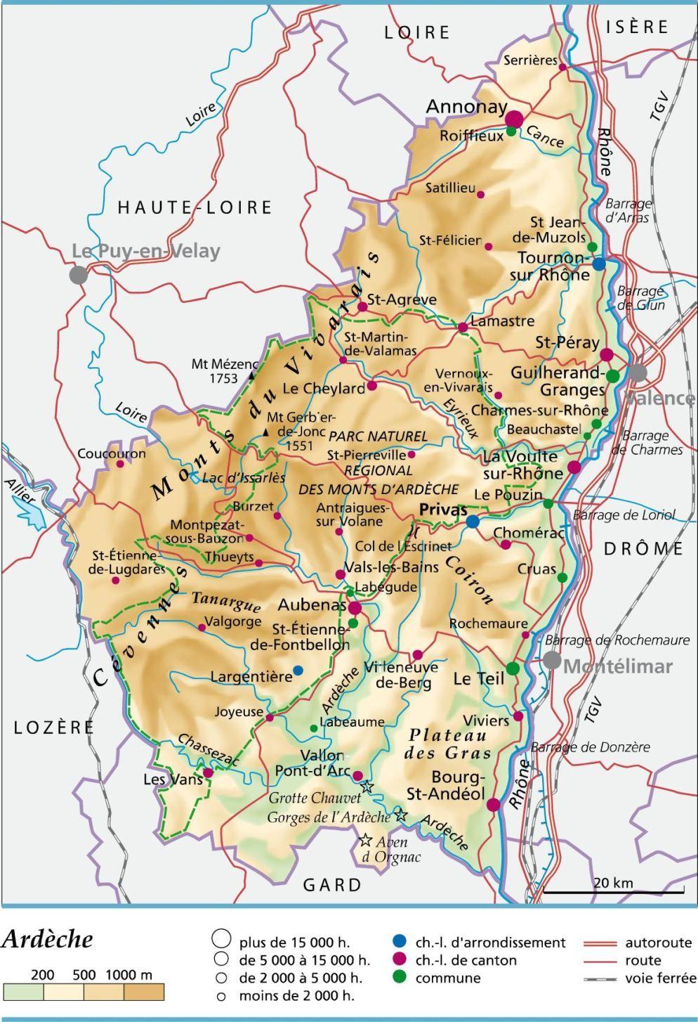 carte de france ardeche Carte de l'Ardèche   Ardèche carte des villes, communes, sites