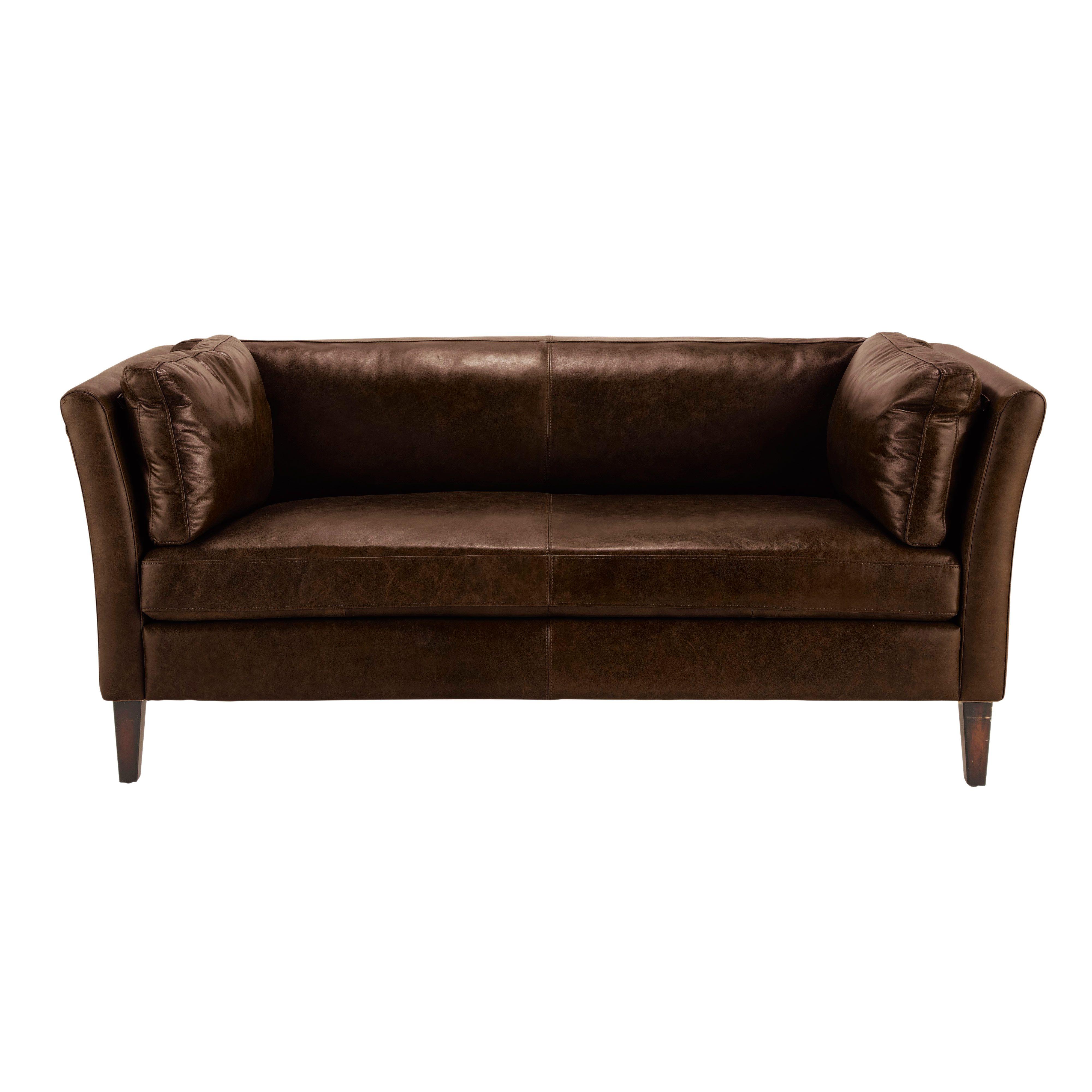 Canape Vintage 3 Places En Cuir Marron Prescott Sofa Leder Vintage