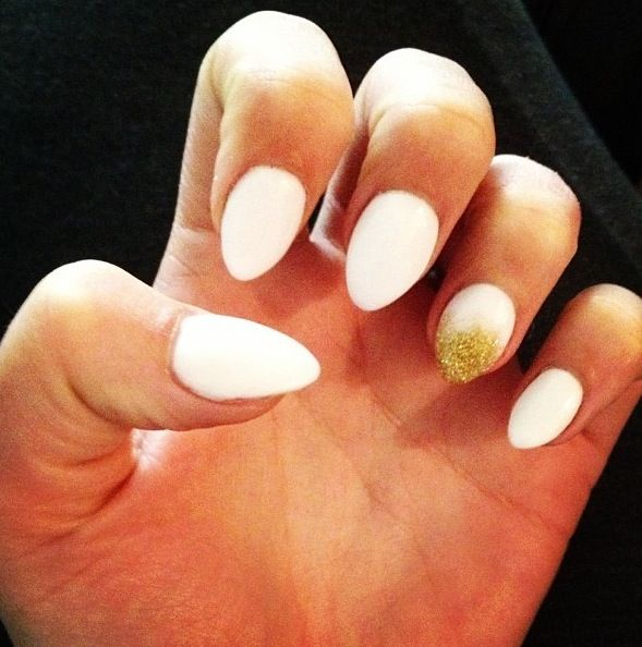 White Almond Nails Maybe Matt White With A Bling Ring Finger