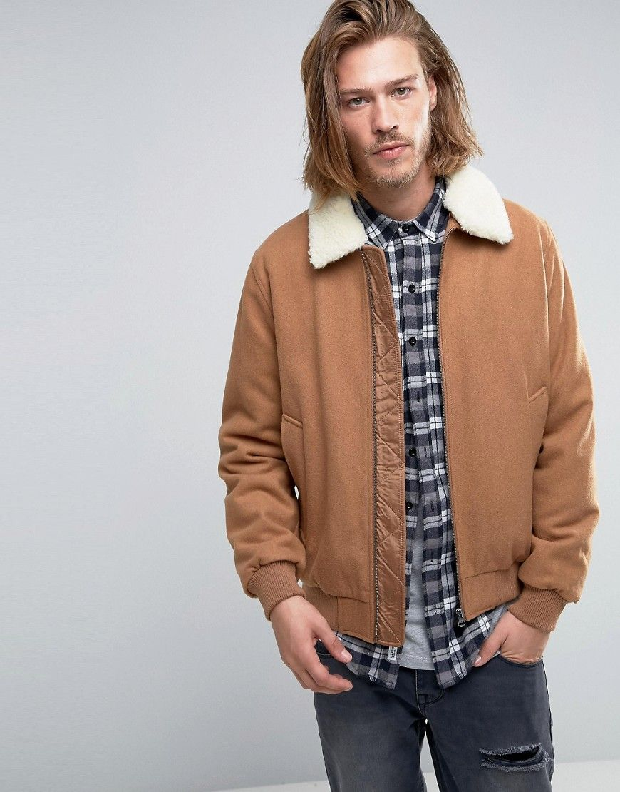 ASOS Wool Mix Bomber Jacket With Borg Collar In Camel at asos.com