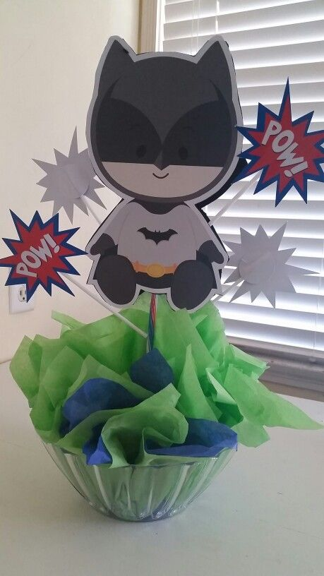 Baby superhero centerpiece for baby shower
