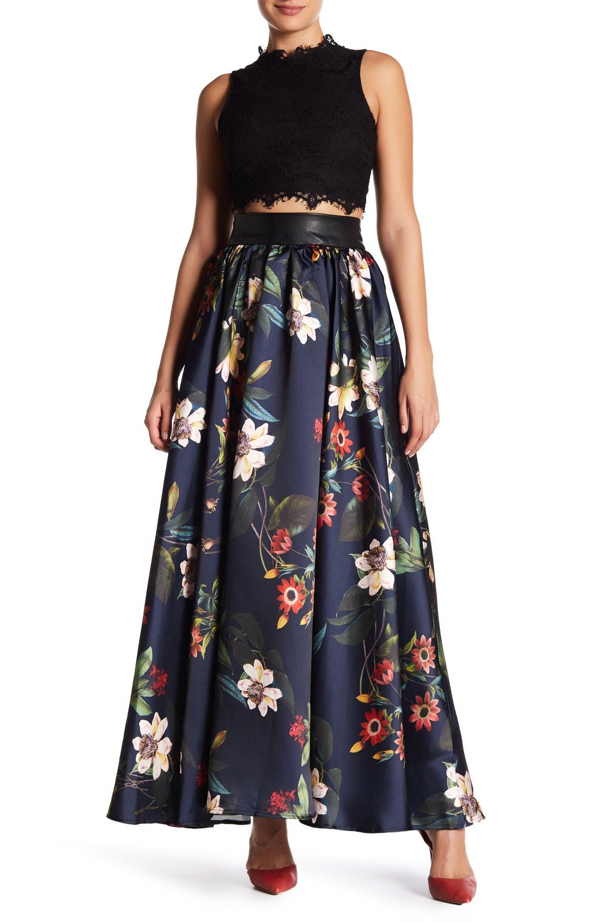 02a6954e751 Faux Leather Trim Maxi Skirt by Gracia on  nordstrom rack