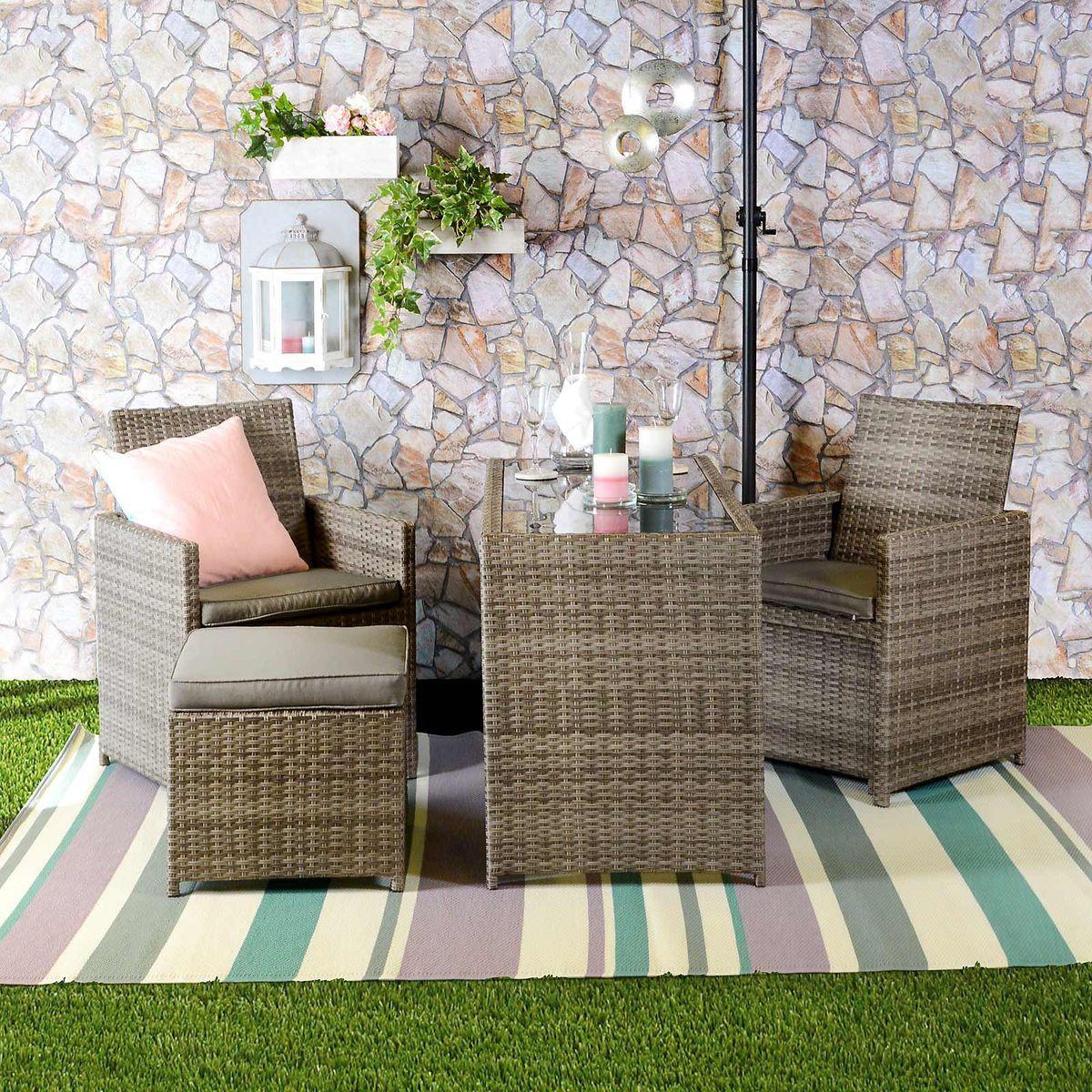 Balkonmöbel-Set aus Polyrattan, inkl Auflagen, 5tlg, grau   Garden ...