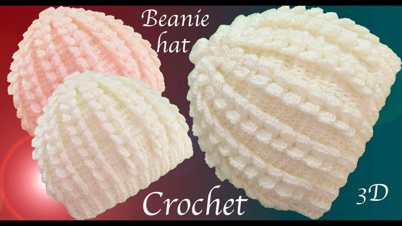 Gorro a Crochet punto trenzas verticales en 3D tejido ...