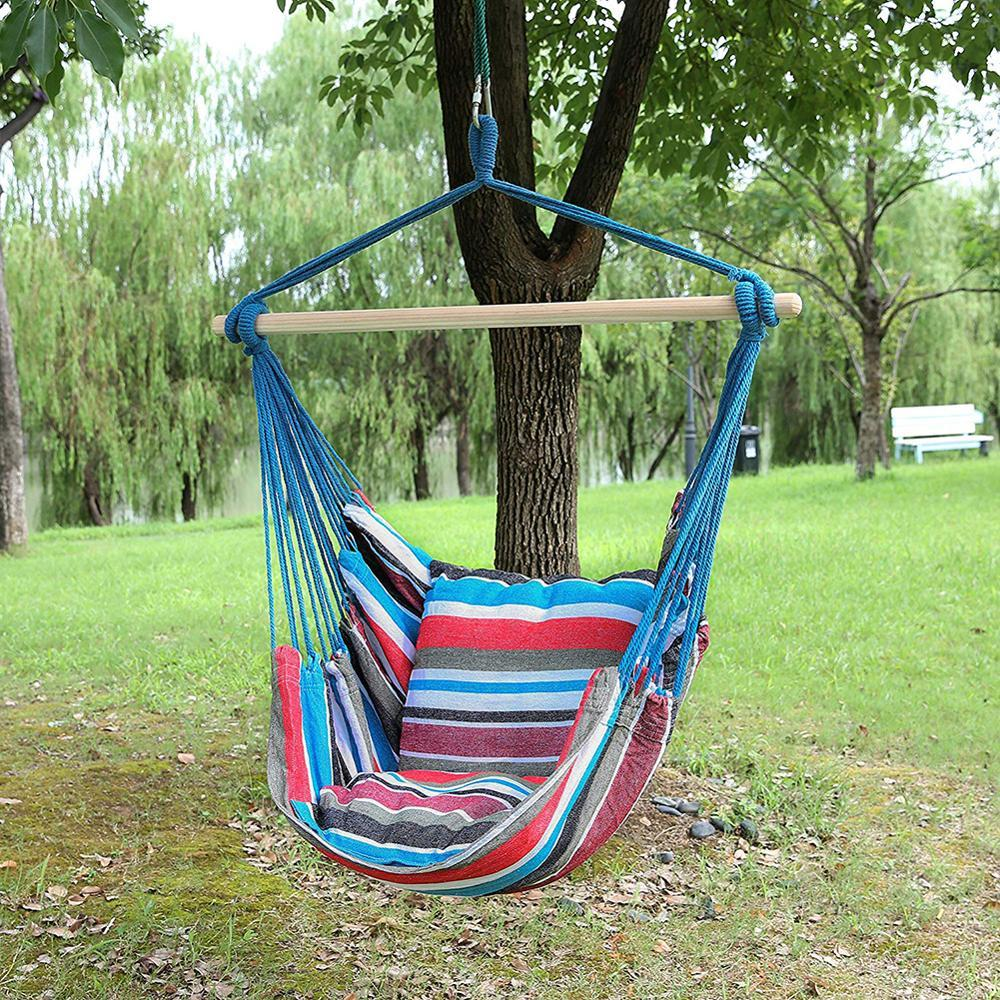 Hammock Chair Outdoor Garden Hammock Hanging Chair For Home Travel Camping Hiking Tree Swing Canvas Stripe Hammoc Swinging Chair Rope Chair Swing Hammock Chair