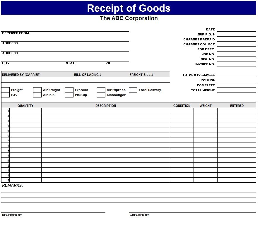 Receipt For Goods Receipt For Goods Template My Excel Templates  Free Download Receipt Format In Excel