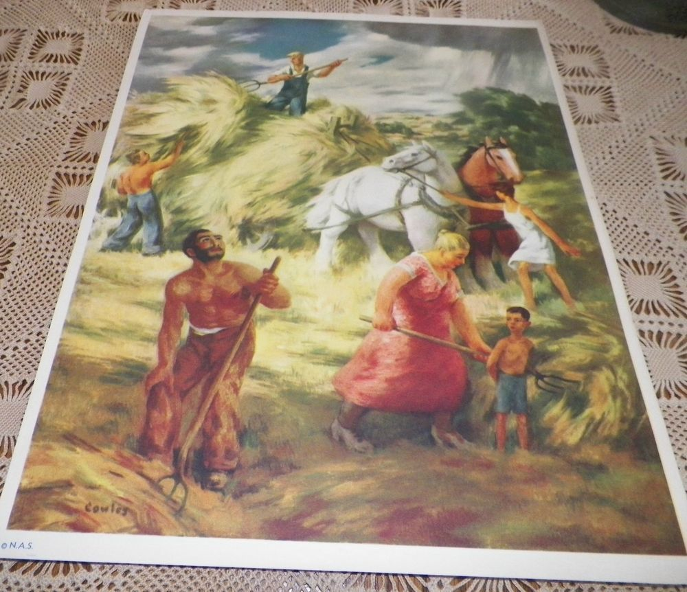 Farmer & The Raincloud Cowles American Art Today National Art Society Print 1939 #Vintage