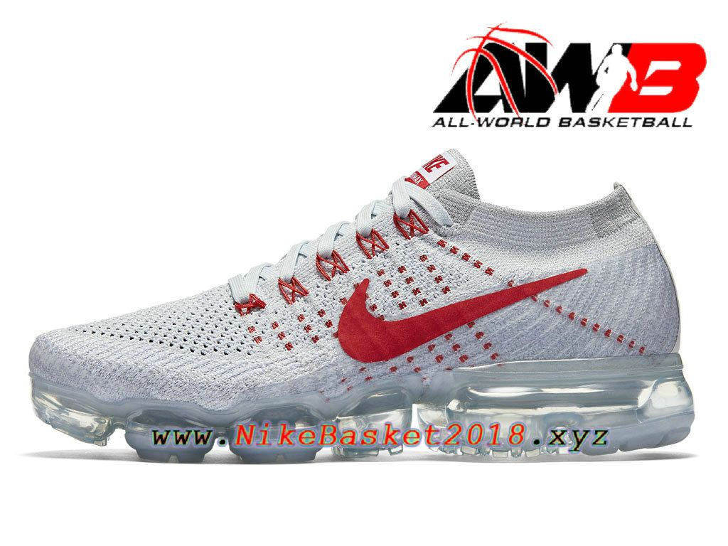 674ac95c613 Chaussures de BasketBall Pas Cher Pour Femme Nike Wmns Air VaporMax Pure  Platinum GS University Red