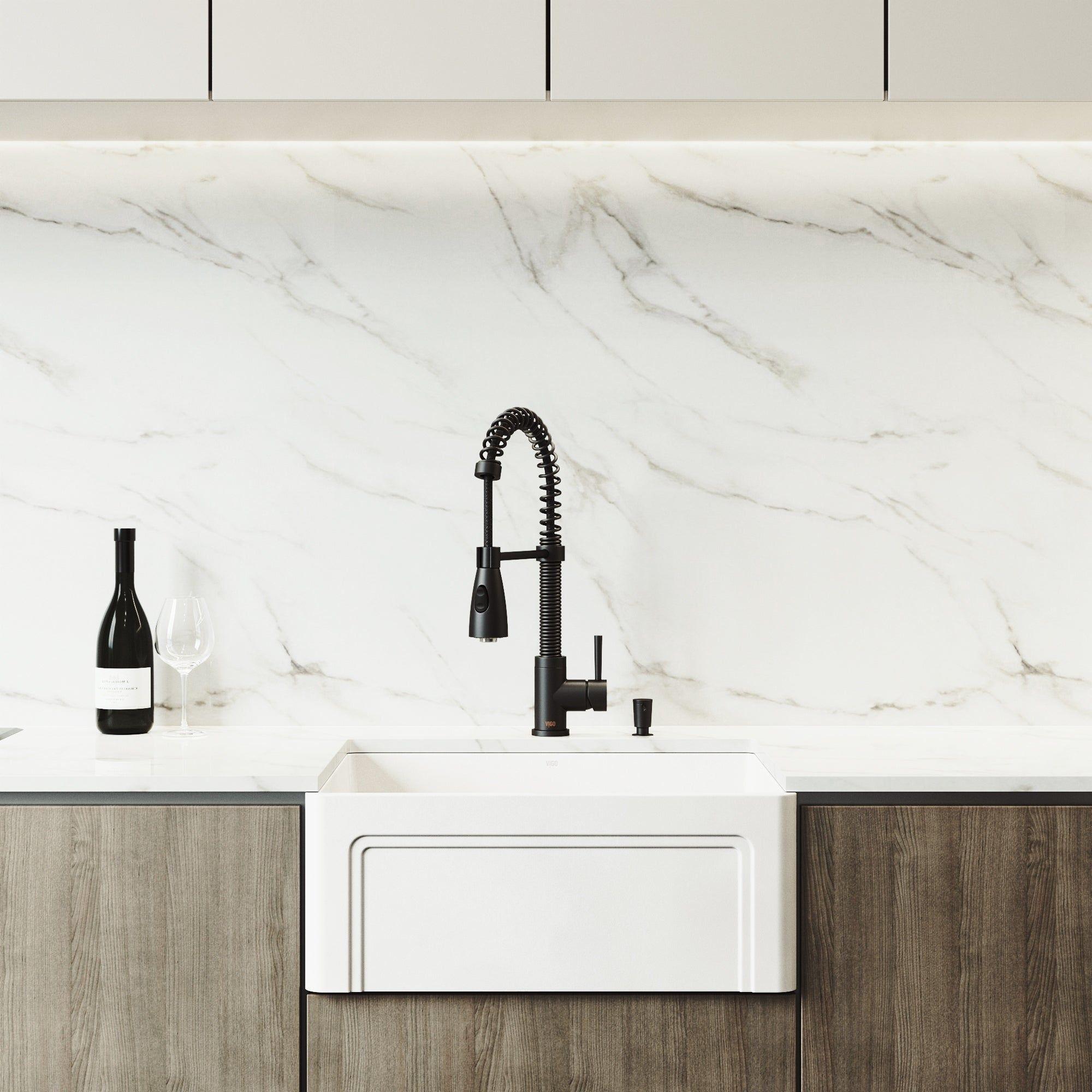Vigo Matte Stone Kitchen Sink Set With Brant Pull Down Spray