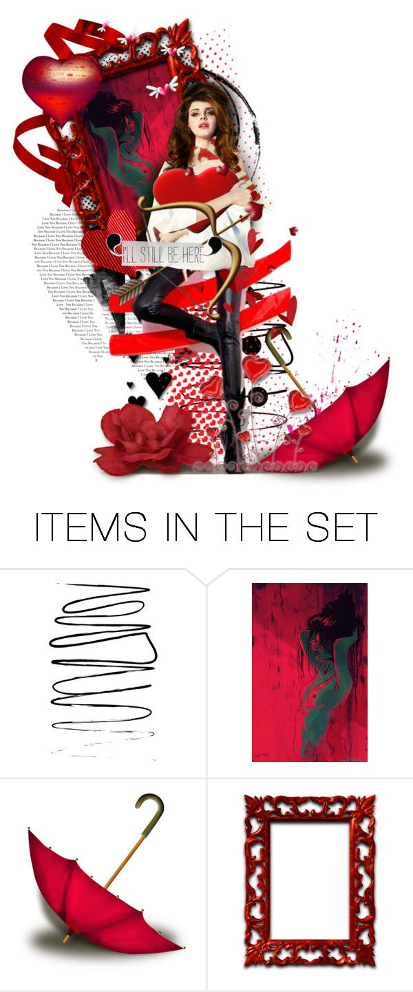 """""""Welcome Home"""" by gailwind ❤ liked on Polyvore featuring art, illustrations, red, dolls, gailwind and valentinesday"""