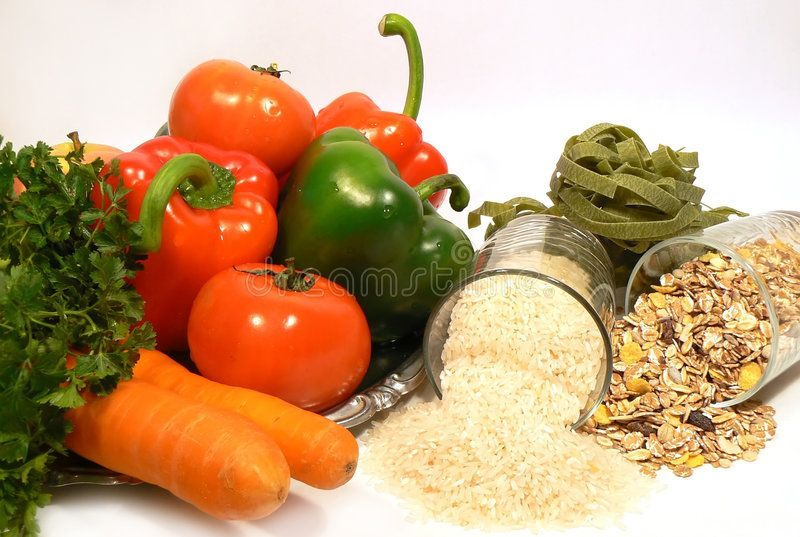 Healthy food. Fruit vegetables rice and cereals ,