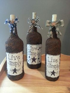 Wine Bottle Decorations Primitive Wine Bottles  Deco Wine Bottles  Pinterest