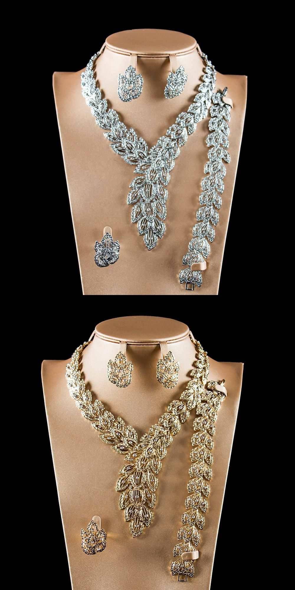 New arrival long colorfast four piece suit necklace earring ring