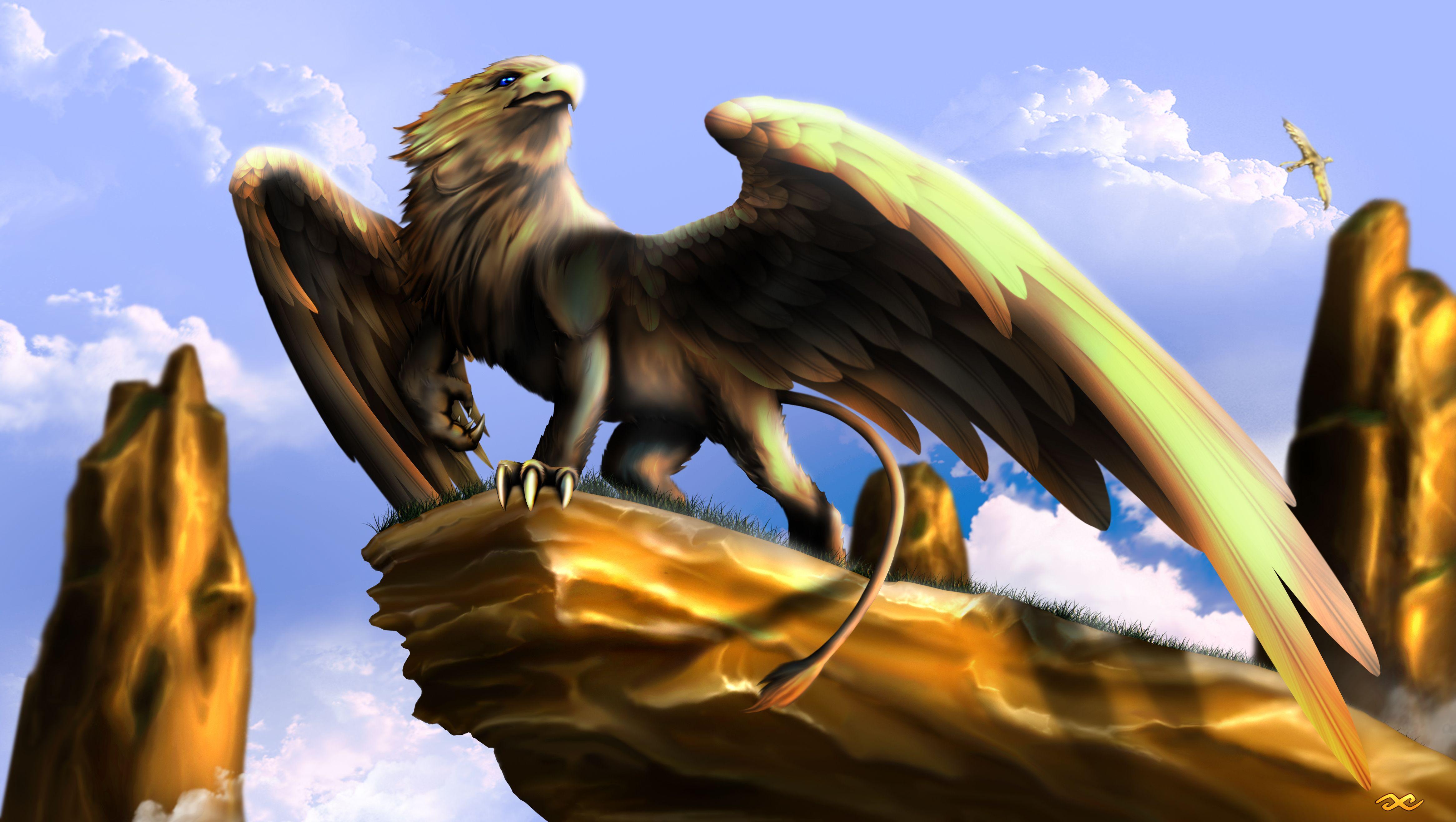 Painting Art Phoenix Fire Fantasy Digital Drawing: Griffin By Guillaume Phoenix Digital Art Drawings