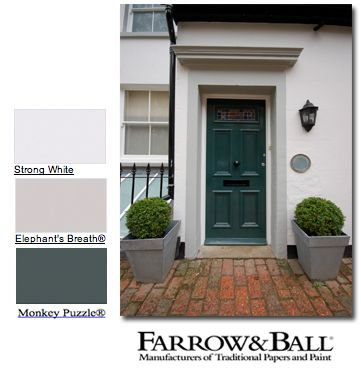 Farrow And Ball Colors Strong White On The Masonry Elephants Breath On The Door Surround And