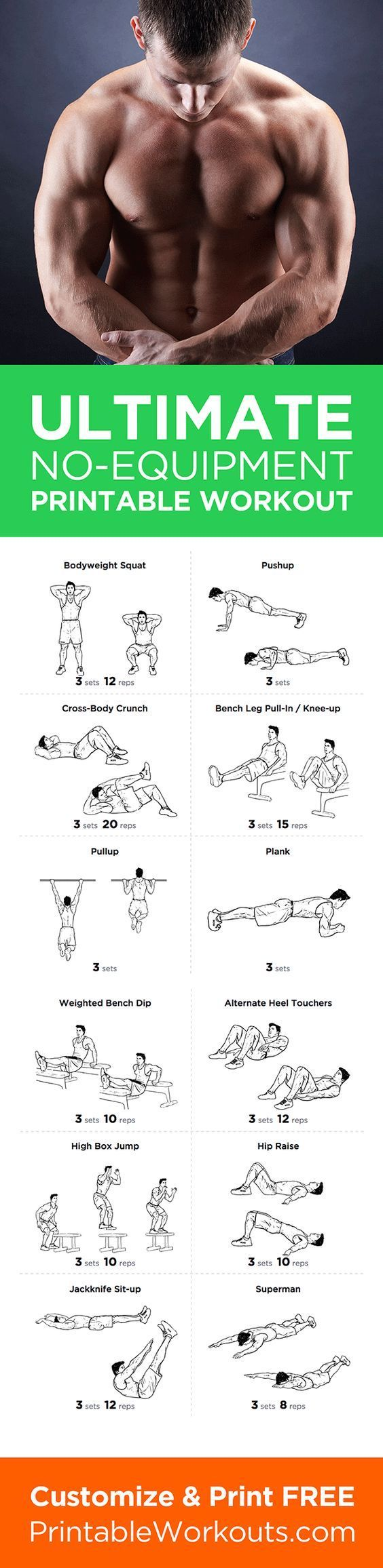 Customize Print It At Ultimate Home Full Body No Equipment Printable Workout Routine