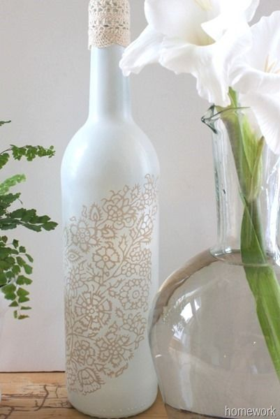 homework: creative inspiration for home and life: ETCETERAS: White & Ecru Lace Stenciled Bottle Good.