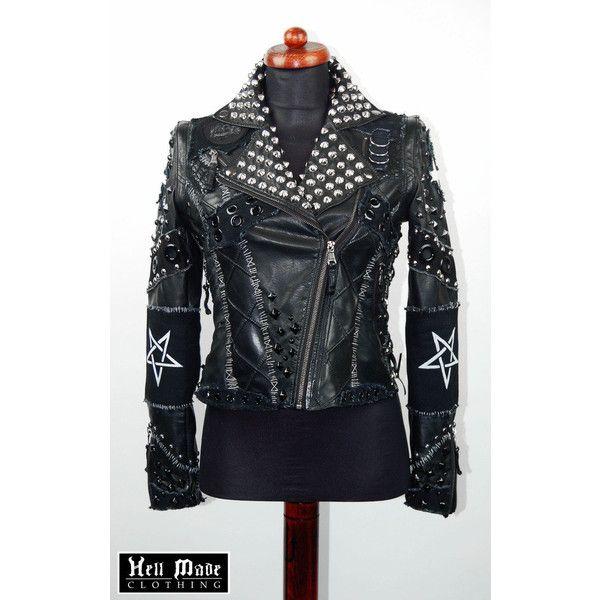RESERVED Custom Frankenstitched Skull Punk Rock Pentagram Jacket ❤ liked on  Polyvore featuring outerwear 3401575be98fc