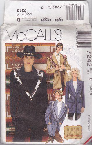 Mccalls 7242 Pattern Uncut 10 12 14 Country Western Jacket Shawl