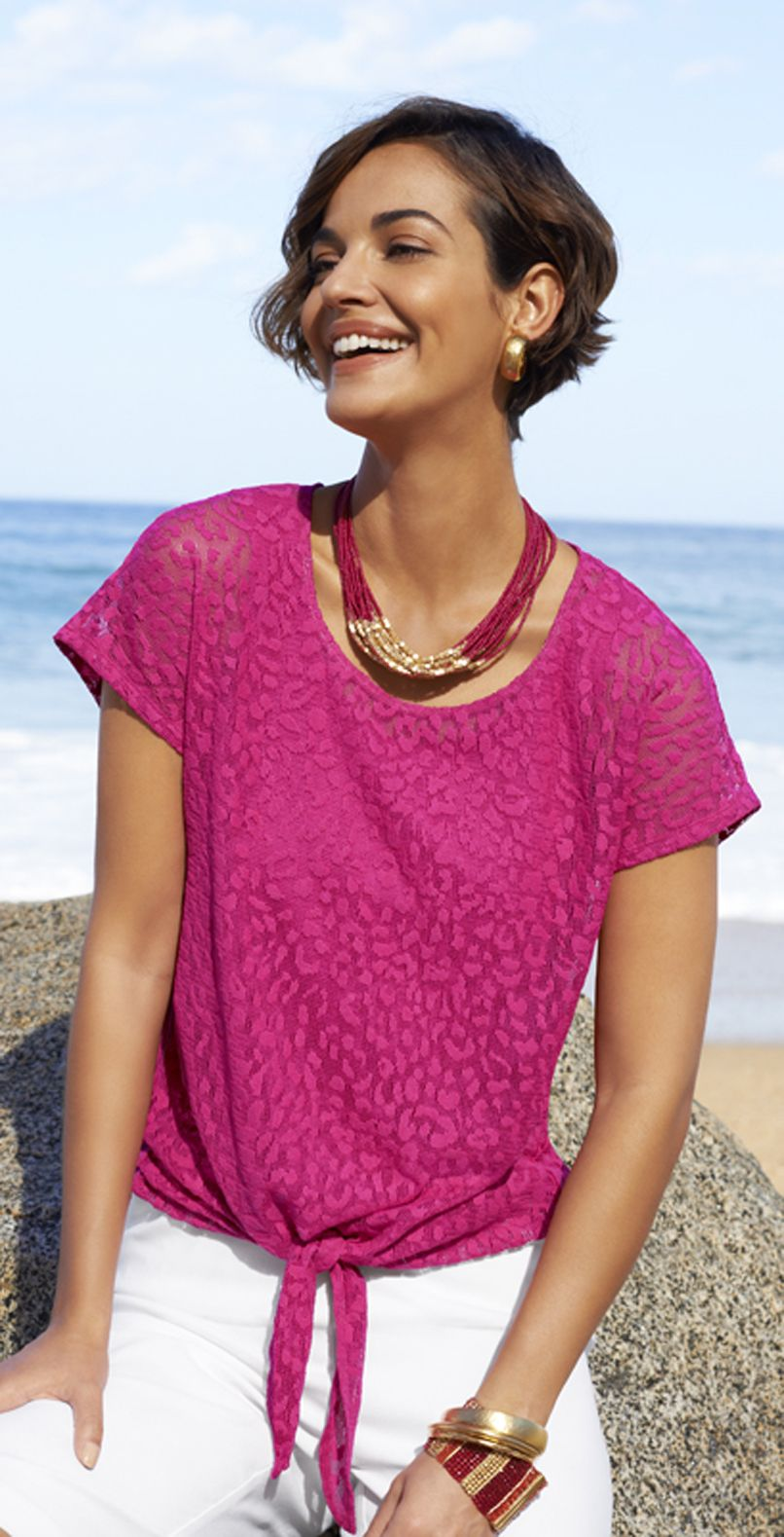 df4bfcd65745 Chico's Lana Leopard Lace Tee. Leopard-spotted lace and a tie-front hem  transform the short-sleeve tee.