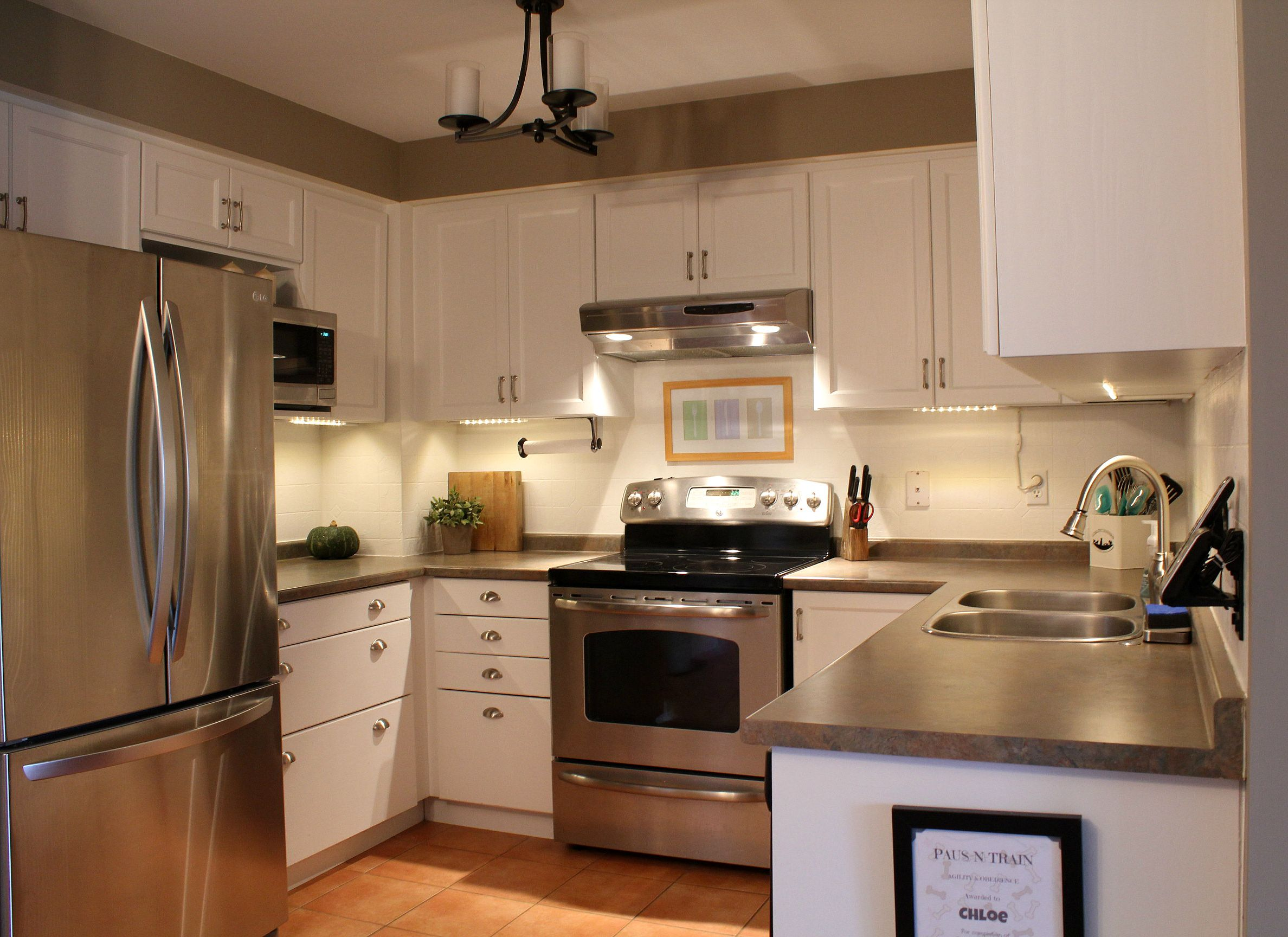 kitchen cabinets white paint, dark/greyish countertops, greige walls ...