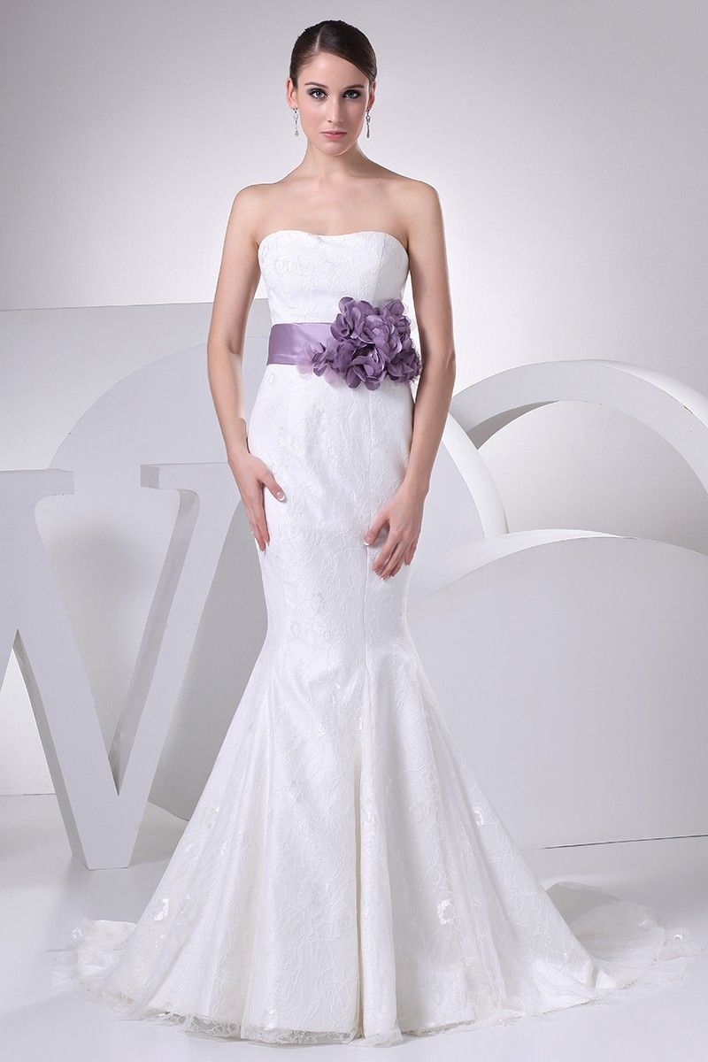 0413120d22a Elegant Mermaid Strapless Corset Lavender Flower Belt White Lace Beach  Destination Wedding Dress