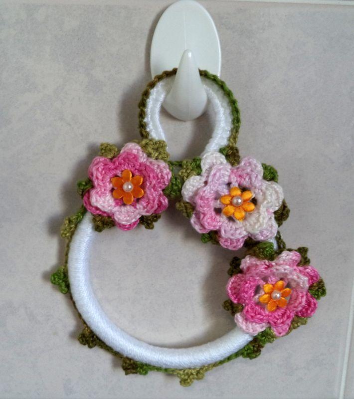 Porta pano de prato flores rosa