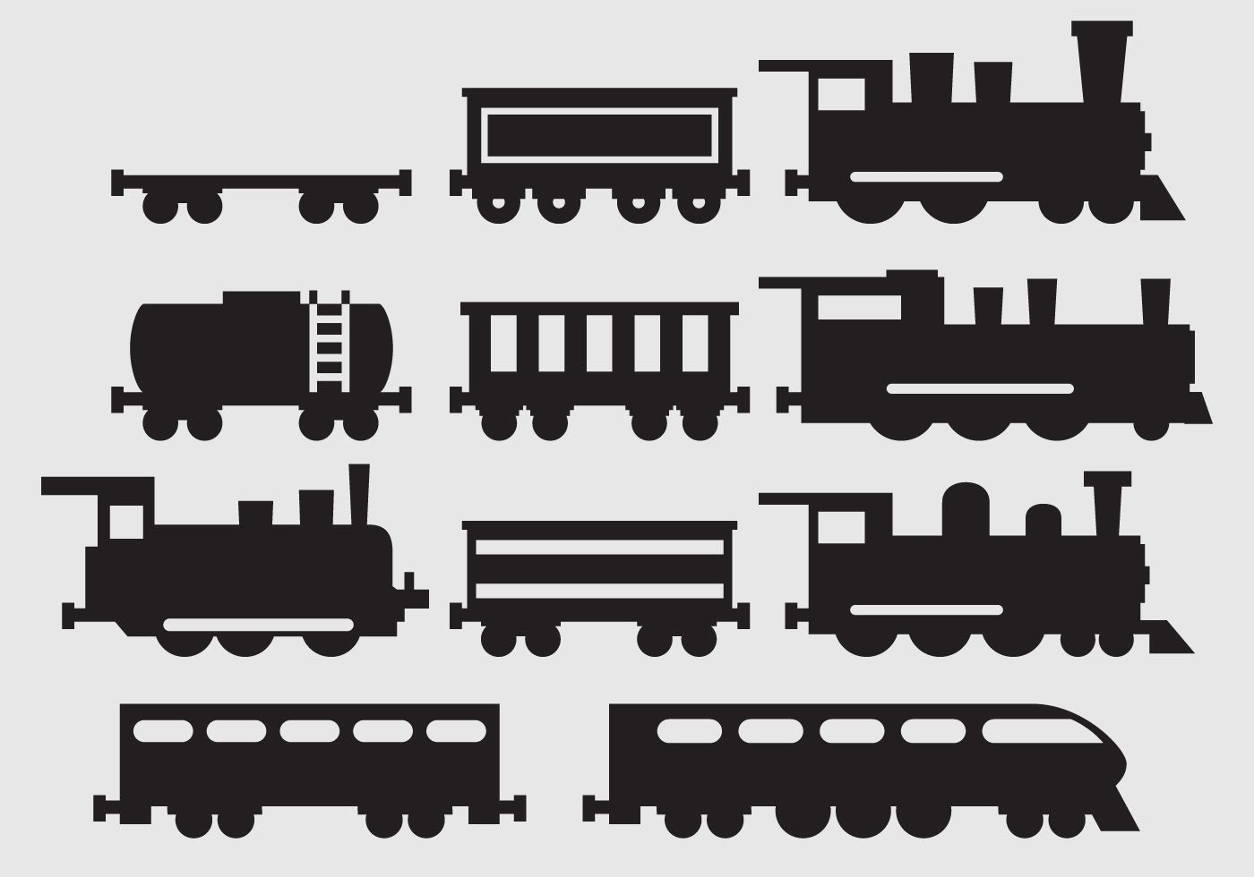If You Re Making Railroad And Train Designs You Ll Need Some Train Silhouettes With Different Models Train Silhouette Train Clipart Silhouette Vector