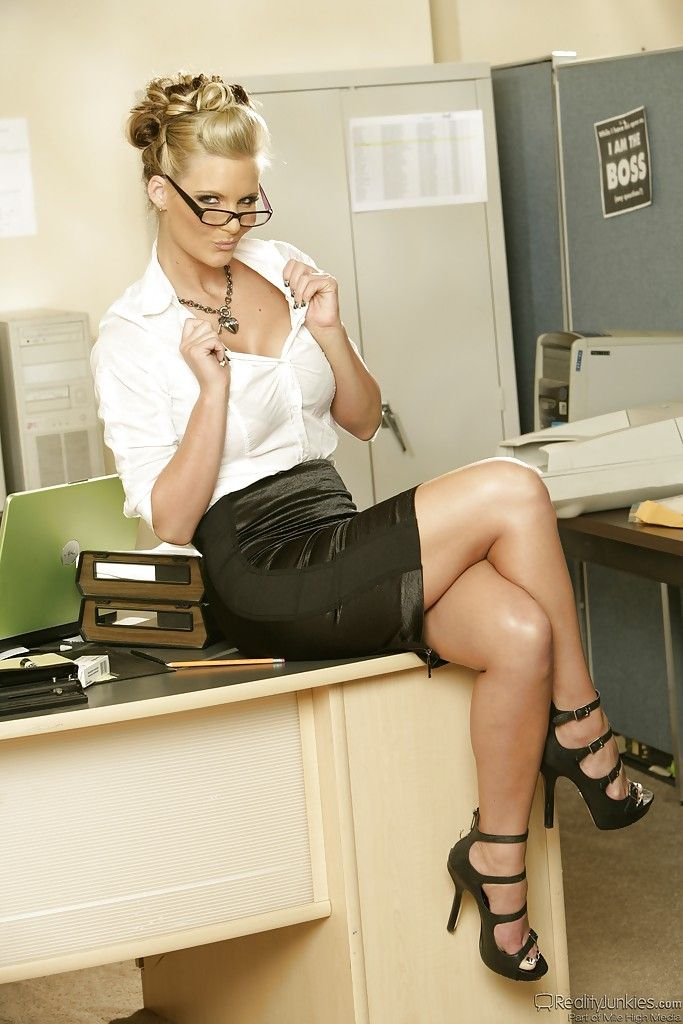 Blonde on desk upskirt