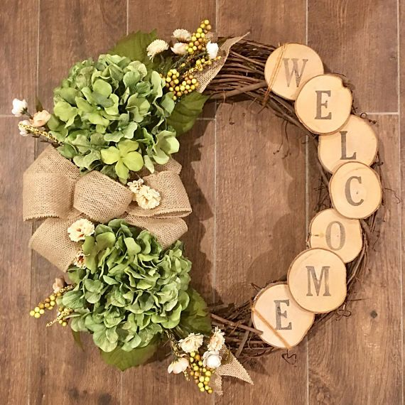 Wreath, Rustic wreath, hydrangea wreath, custom wreath, front door wreath, fall wreath, year round wreath, fall, winter, house warming #rusticcrafts