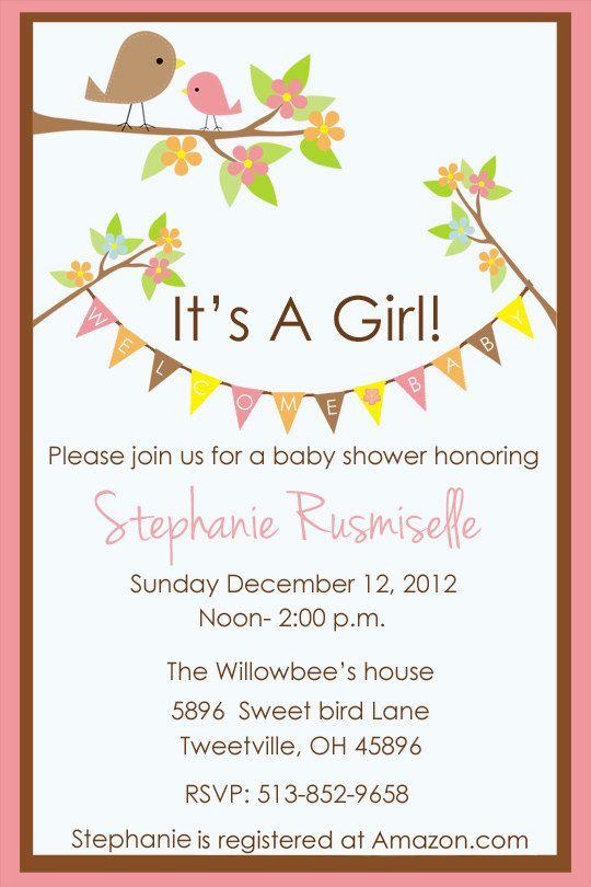 Baby Shower invitation Tweet little bird For Girl Customized