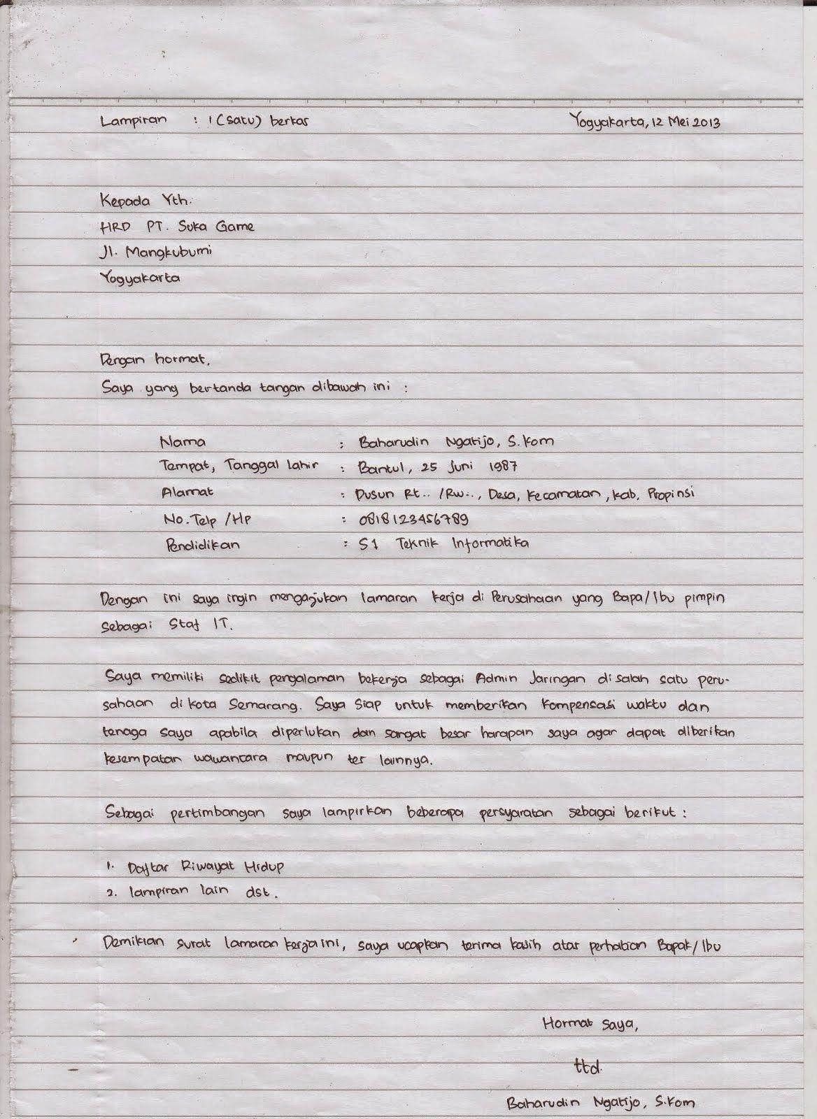 Contoh Surat Lamaran Kerja Tulis Tangan Dan Ketik Tulisan Tangan Tulisan Huruf
