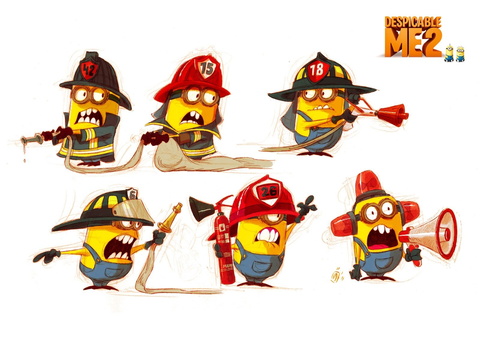 Despicable me 2 minion character studies so cute by - Minion pompier ...