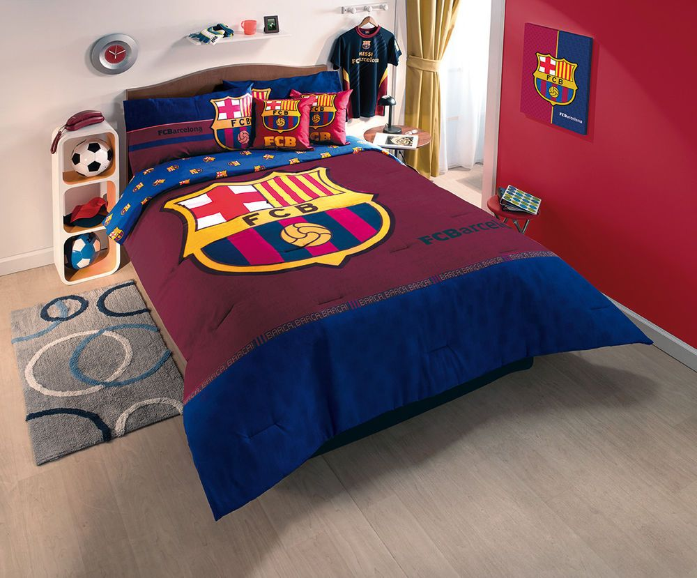 charming Soccer Comforter Full Part - 11: New Blue FCB Club Barcelona Soccer Comforter Bedding Sheet Set