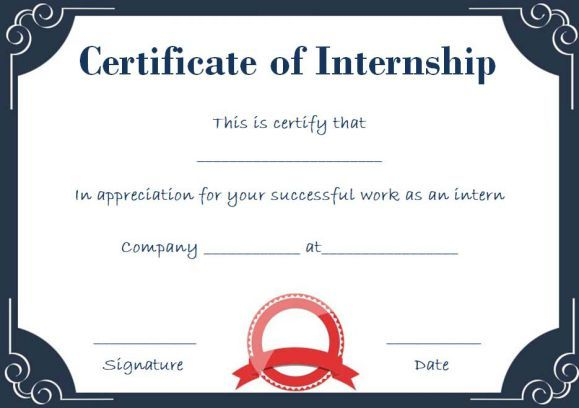 Certificate Of Completion Internship Template  Certificate Of