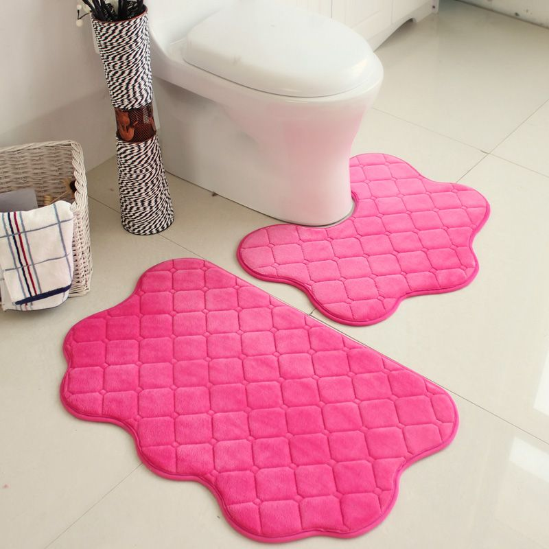Pcsset Pink Color New Soft Bath Pedestal Mat Set Toilet Non Slip - Patterned bath mat for bathroom decorating ideas