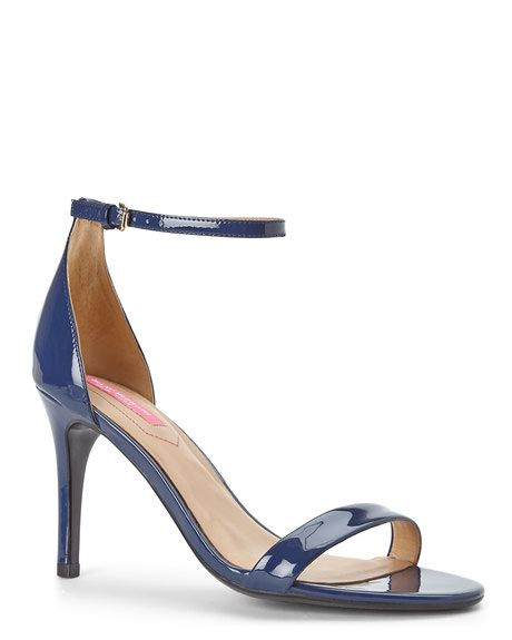ISAAC MIZRAHI Navy Popular Ankle Strap Sandals