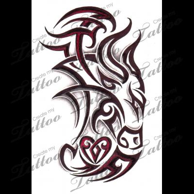 marketplace tattoo tribal taurus bull with heart 4475