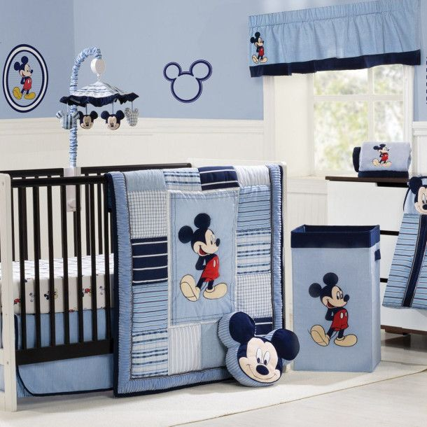 Mickey Mouse Crib Baby Nursery Bedding Decorating Ideas Blue Luxurious Room And Minnie Bedroom Decor For