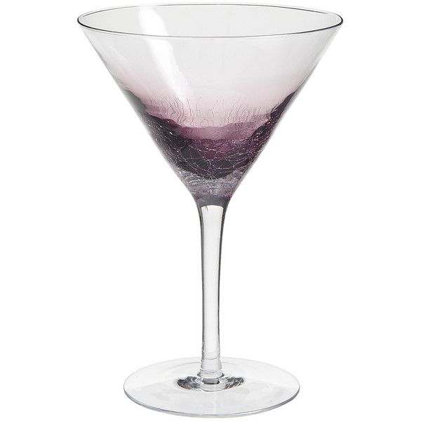 Pier 1 Imports Crackle Martini Glass ($6.95) ❤ liked on Polyvore featuring home, kitchen & dining, drinkware, purple, martini cocktail glasses, handblown glassware, purple glassware, crackle glassware and hand blown martini glasses
